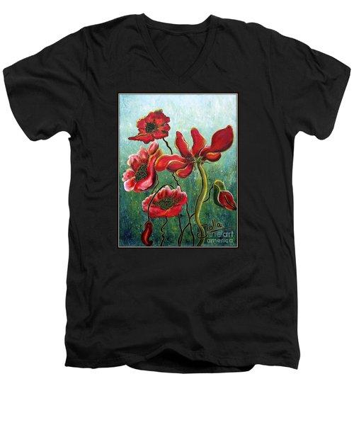 Endless Poppy Love Men's V-Neck T-Shirt by Jolanta Anna Karolska