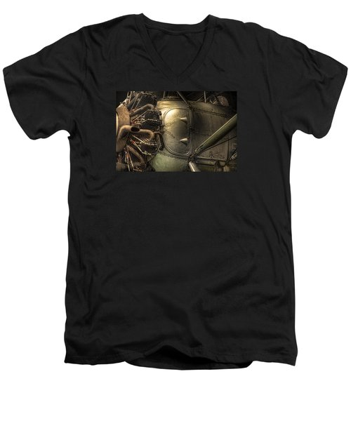 Men's V-Neck T-Shirt featuring the photograph Radial Engine And Fuselage Detail - Radial Engine Aluminum Fuselage Vintage Aircraft by Gary Heller