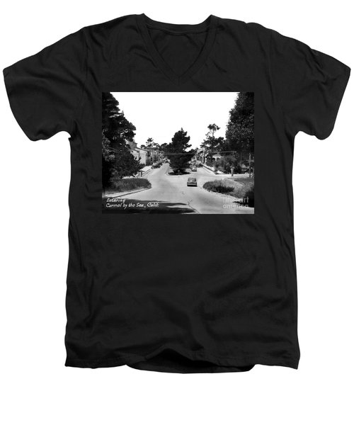 Entering Carmel By The Sea Calif. Circa 1945 Men's V-Neck T-Shirt by California Views Mr Pat Hathaway Archives