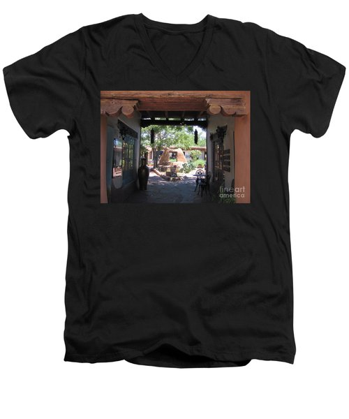 Men's V-Neck T-Shirt featuring the photograph Entrance To Market Place by Dora Sofia Caputo Photographic Art and Design