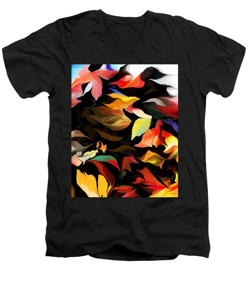 Men's V-Neck T-Shirt featuring the digital art Entropic Dance Of The Salamander First Snow.  by David Lane