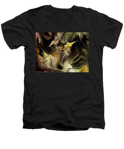 Men's V-Neck T-Shirt featuring the digital art Environmental Transitions 5 by Casey Kotas