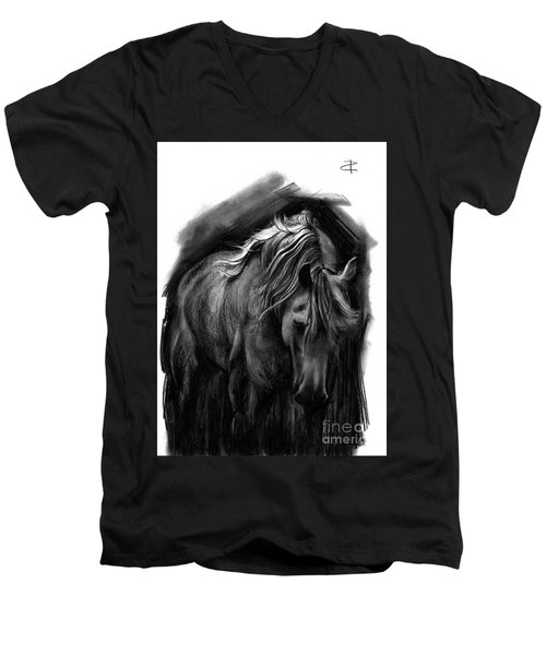 Men's V-Neck T-Shirt featuring the drawing Equine 1 by Paul Davenport