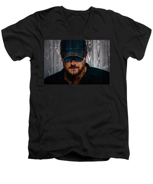 Eric Church Men's V-Neck T-Shirt by Dan Sproul