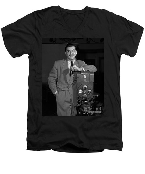 Men's V-Neck T-Shirt featuring the photograph Ernie Kovacs 1957 by Martin Konopacki Restoration