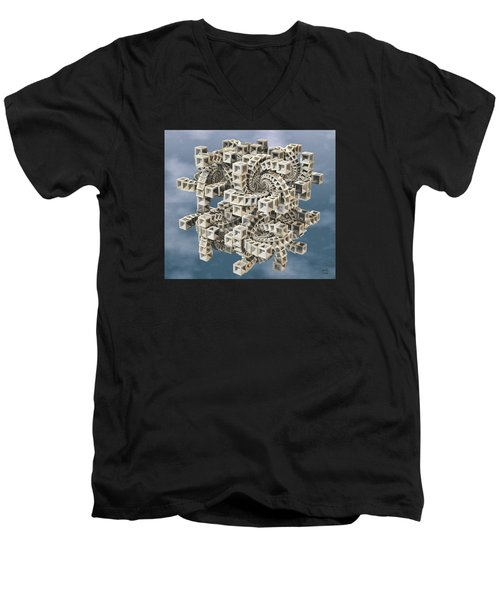 Men's V-Neck T-Shirt featuring the digital art Escher's Construct by Manny Lorenzo