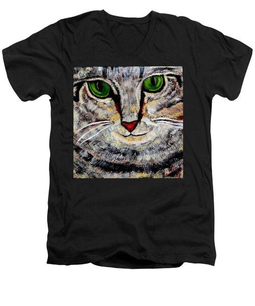 Ethical Kitty See's Your Dilemma Men's V-Neck T-Shirt by Lisa Brandel