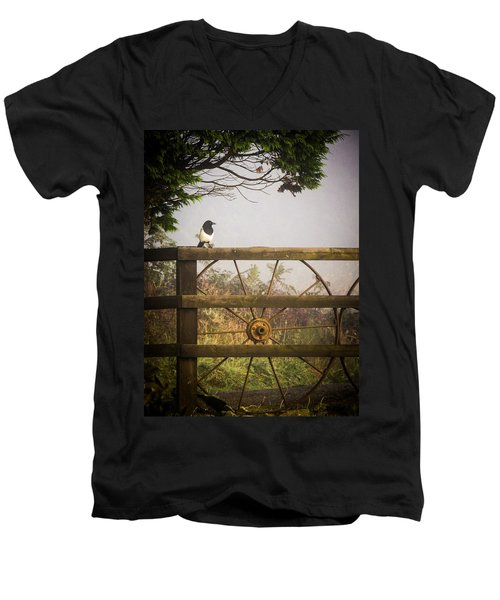 Eurasian Magpie In Morning Mist Men's V-Neck T-Shirt