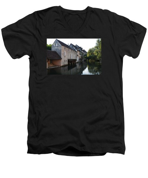 Eure River And Old Fulling Mills In Chartres Men's V-Neck T-Shirt