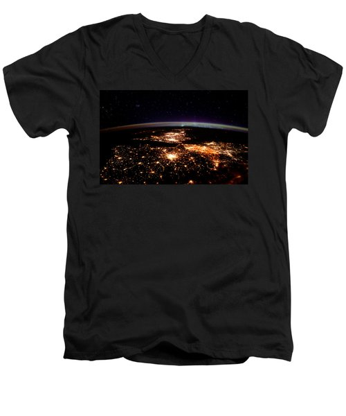 Men's V-Neck T-Shirt featuring the photograph Europe At Night, Satellite View by Science Source