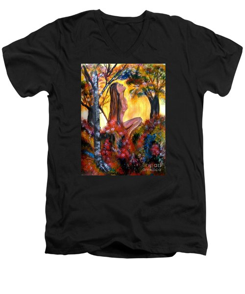 Men's V-Neck T-Shirt featuring the painting Eve In The Garden by Lori  Lovetere