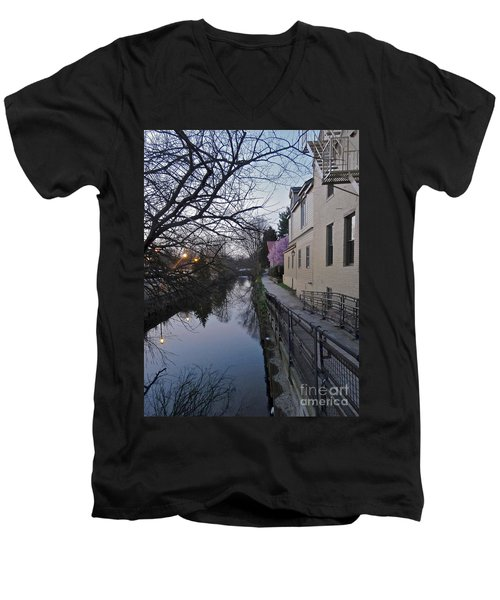 Evening On The Canal Path Men's V-Neck T-Shirt