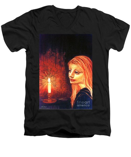 Men's V-Neck T-Shirt featuring the painting Evening Prayer by Jane Small