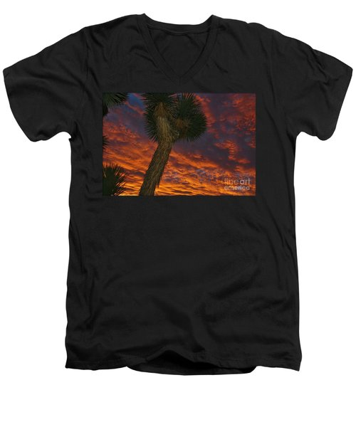 Evening Red Event Men's V-Neck T-Shirt by Angela J Wright