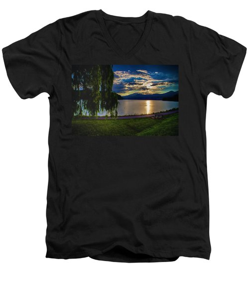 Evening Sun Kisses Lake One Last Time Men's V-Neck T-Shirt