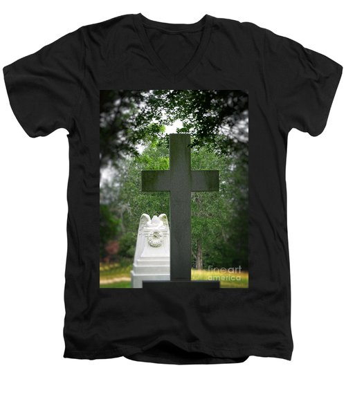 Men's V-Neck T-Shirt featuring the painting Every Knee Shall Bow by Ella Kaye Dickey