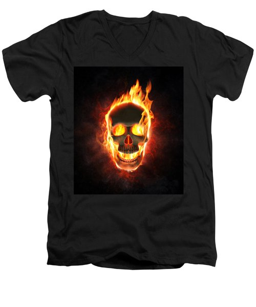 Evil Skull In Flames And Smoke Men's V-Neck T-Shirt by Johan Swanepoel