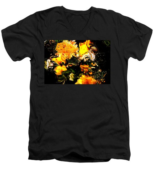 Men's V-Neck T-Shirt featuring the digital art Ex Obscura by Richard Thomas