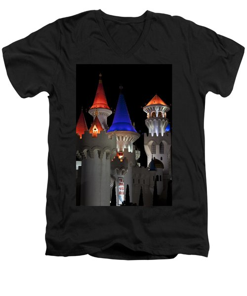 Excalibur Casino After Midnight Men's V-Neck T-Shirt by Ivete Basso Photography