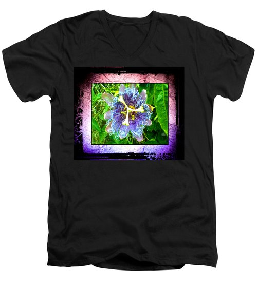 Men's V-Neck T-Shirt featuring the photograph Exotic Strange Flower by Absinthe Art By Michelle LeAnn Scott