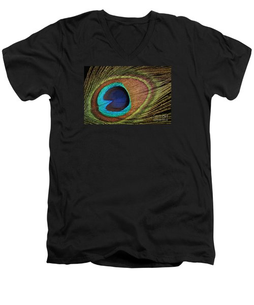 Eye Of The Peacock Men's V-Neck T-Shirt by Judy Whitton