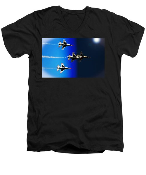 Men's V-Neck T-Shirt featuring the photograph F16 Flight Into Space by DigiArt Diaries by Vicky B Fuller