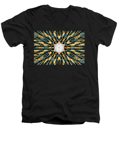 Men's V-Neck T-Shirt featuring the drawing Fabric Of The Universe by Derek Gedney