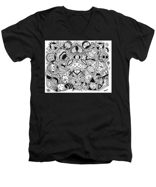 Faces In The Crowd Men's V-Neck T-Shirt by Susie Weber