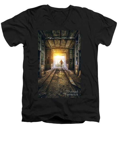 Factory Chase Men's V-Neck T-Shirt by Carlos Caetano