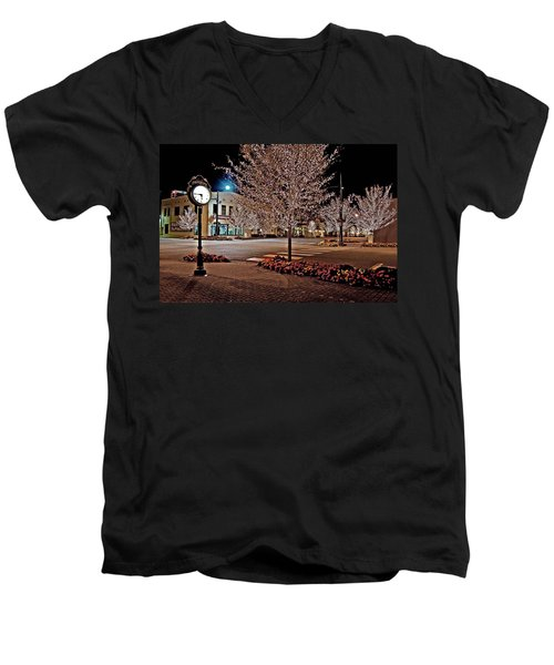 Fairhope Ave With Clock Night Image Men's V-Neck T-Shirt