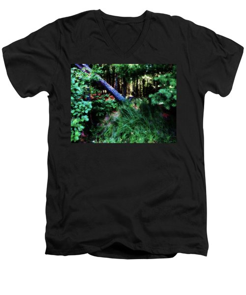 Men's V-Neck T-Shirt featuring the photograph Fairy Forest by Jamie Lynn