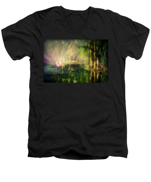 Fairy In Pink Bubble In Serenity Forest Men's V-Neck T-Shirt