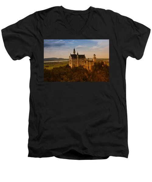 Fairy Tale Castle Men's V-Neck T-Shirt by Miguel Winterpacht