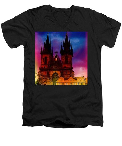 Fairy Tale Castle Prague Men's V-Neck T-Shirt