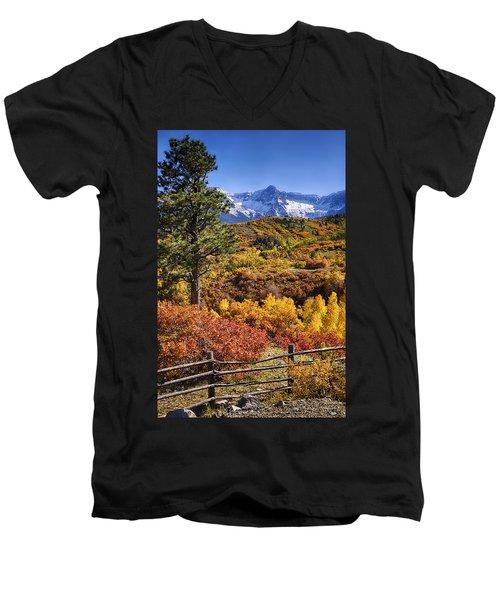 Fall At Dallas Divide Men's V-Neck T-Shirt by Priscilla Burgers