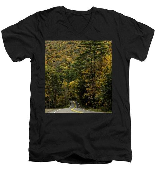 Fall Colors On Mohawk Trail Near Charlemont Men's V-Neck T-Shirt