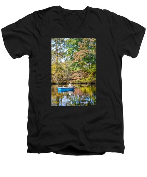 Men's V-Neck T-Shirt featuring the photograph Fishing Reflection by Debbie Green