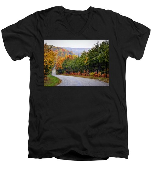 Fall On Fox Hollow Road Men's V-Neck T-Shirt