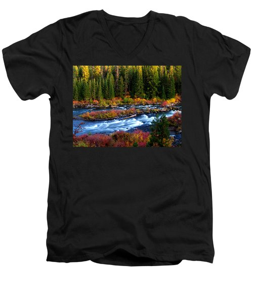 Fall On The Deschutes River Men's V-Neck T-Shirt by Kevin Desrosiers