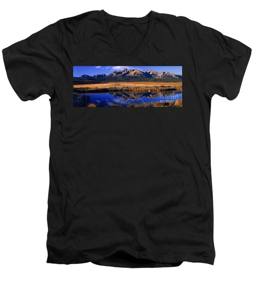 Men's V-Neck T-Shirt featuring the photograph Fall Reflections Sawtooth Mountains Idaho by Dave Welling