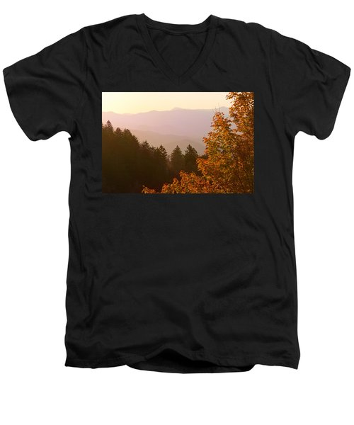 Fall Smoky Mountains Men's V-Neck T-Shirt by Melinda Fawver