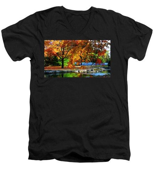 Fall Trees Landscape Stream Men's V-Neck T-Shirt