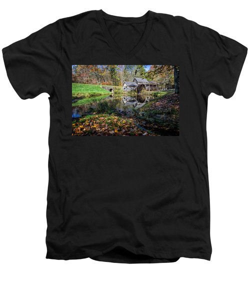 Fallen Leaves At Mabry Mill Men's V-Neck T-Shirt