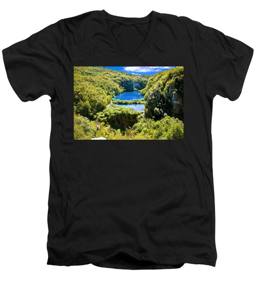 Falling Lakes Of Plitvice National Park Men's V-Neck T-Shirt by Brch Photography
