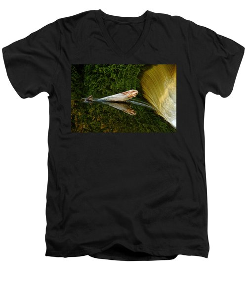 Men's V-Neck T-Shirt featuring the photograph Falling Tree Reflections by Debbie Oppermann