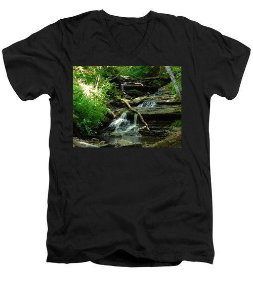 Men's V-Neck T-Shirt featuring the photograph Falling Water by Alan Lakin