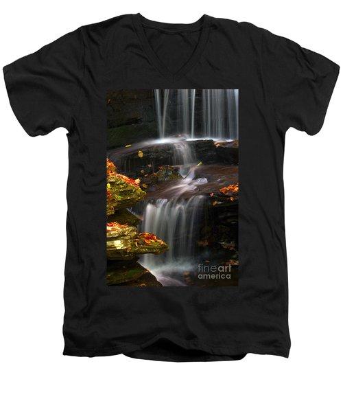 Falls And Fall Leaves Men's V-Neck T-Shirt