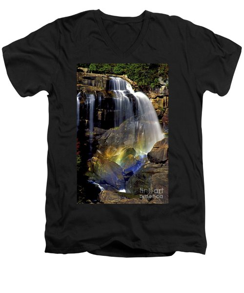 Falls And Rainbow Men's V-Neck T-Shirt by Paul W Faust -  Impressions of Light