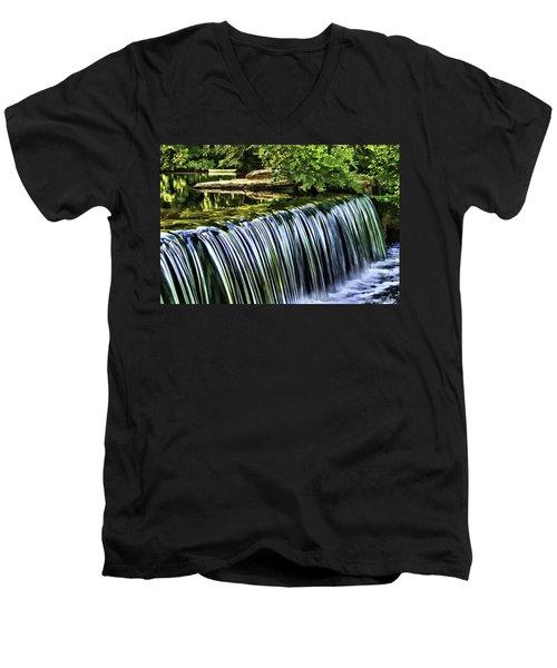 Men's V-Neck T-Shirt featuring the painting Falls by Muhie Kanawati