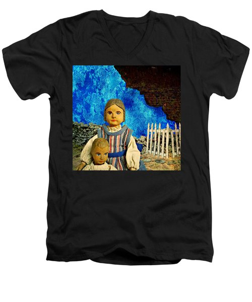 Men's V-Neck T-Shirt featuring the mixed media Family by Ally  White